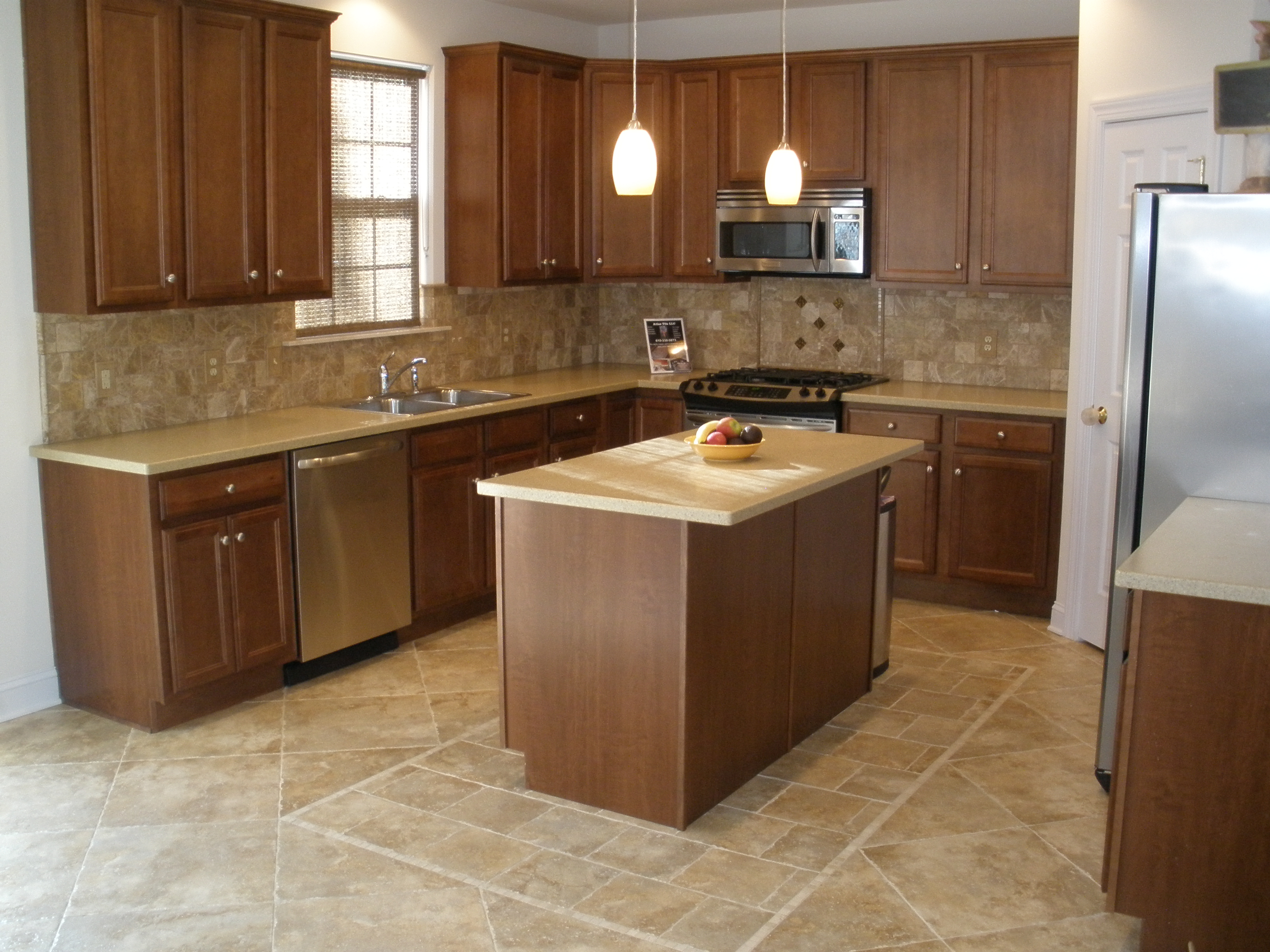 Beauteous Style of Lowes Kitchen Design with Wooden Cabinet using Chic Top and Backsplash