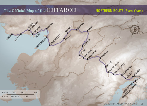 The Official Map of the Iditarod: Northern Route (Even Years)