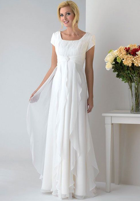 For our older brides, this vow renewal dress will be both appropriate and bridal-worthy.