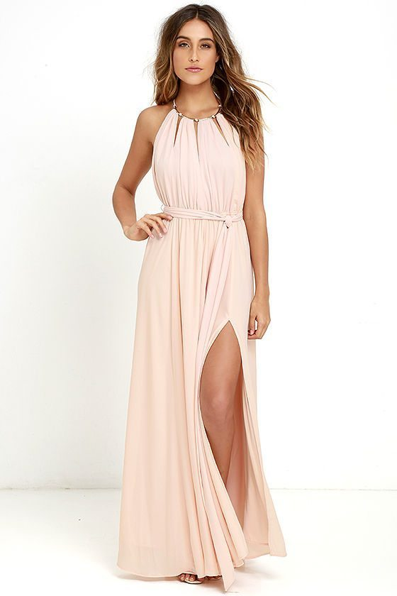 Check out the neckline on this blush stunner, your gals will actually want to wear this one!