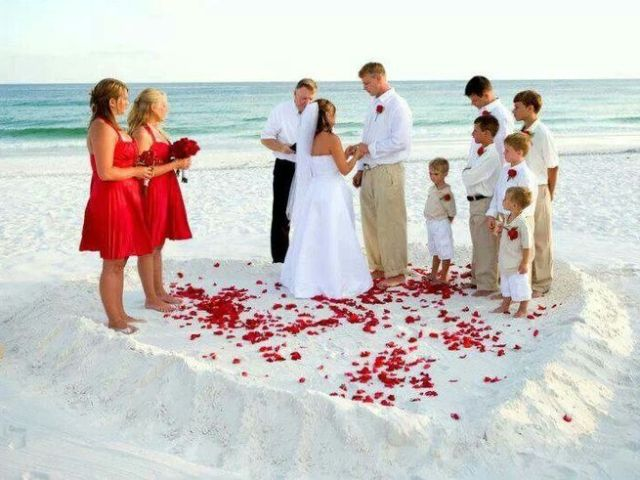 Vow renewal on beach