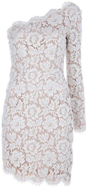 Beige Asymmetric Lace Dress older bride