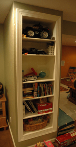 basement ideas - built in shelves