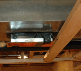 soffit with air duct extension and framing support for finishing a basement