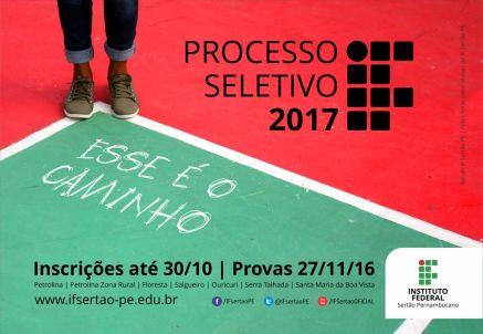 Resultado de imagem para Última semana de inscrições para o Processo Seletivo 2017 do IF Sertão-PE