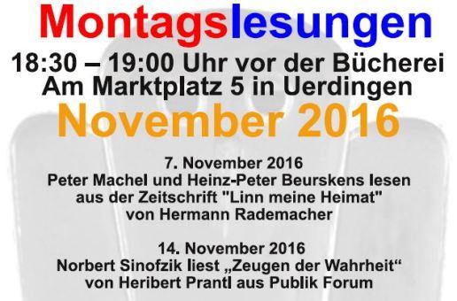 Montagslesungen im November 2016 +++Antifaschistischer Stadtrundgang 12.11. +++ Wenn Menschen flüchten…15.11. +++ AöR in Krefeld 16.11.