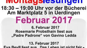 Montagslesungen im Februar