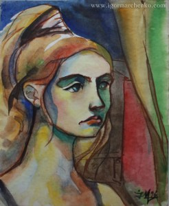 portrait_Alyona_circus_paper_watercolor_sanguine