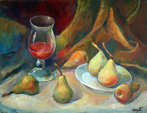 still_life_pears_wine_canvas_oil