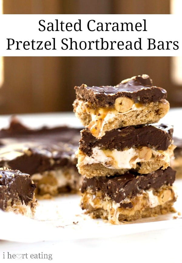 Salted Caramel Pretzel Shortbread Bars
