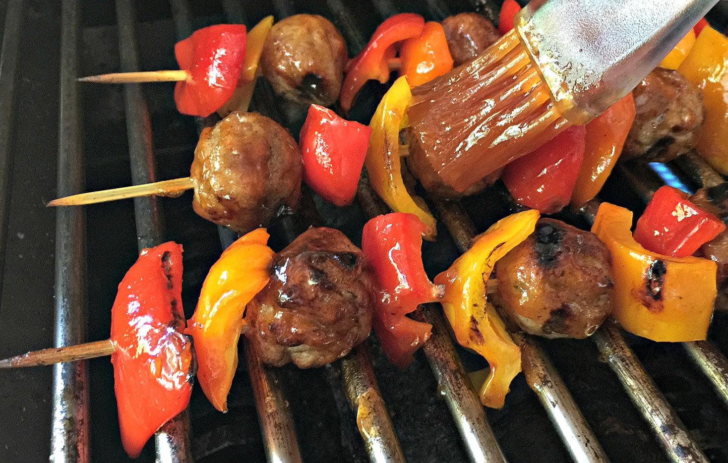Grilled Meatball and Pepper Skewers