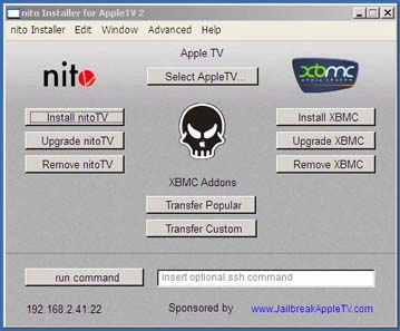 nitosecond  Nito Installer for Windows makes it easy to install XBMC on Apple TV 2G second