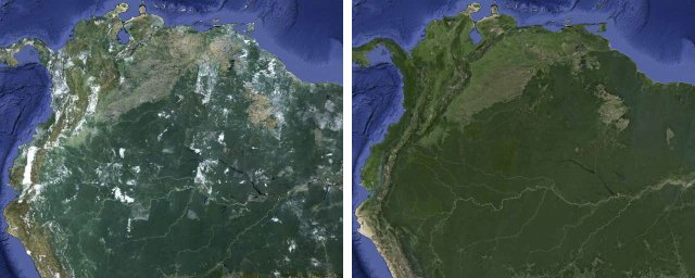 south_america  Google removed the clouds from Google Maps and Earth south america