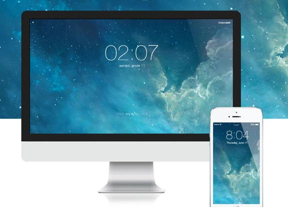 iOS 7 Lock Screen Style Screensaver For Mac OS X