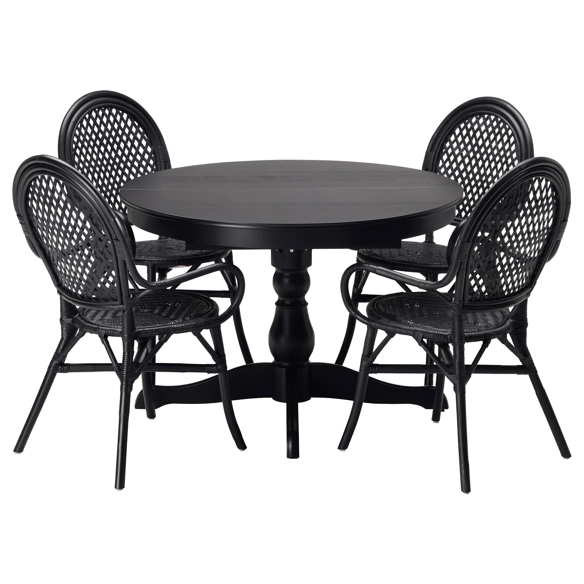black kitchen chairs INGATORP LMSTA table and 4 chairs black rattan black Length 61