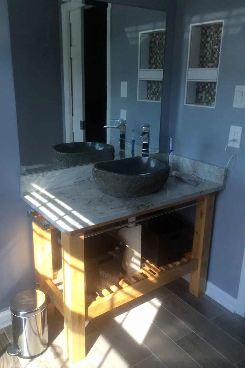 groland kitchen island bathroom vanity coffee table kitchen island table ikea IKEA Groland Kitchen Island makes a handsome Granite topped Bathroom Vanity
