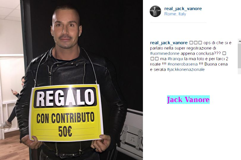 Jack Vanore polemico con Julia gli dedica lo Sponsor