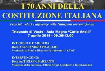 """Oggi il convegno """"I 70 anni della Costituzione Italiana"""""""