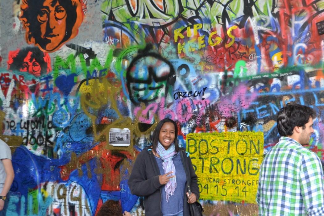 At the John Lennon Memorial Wall.