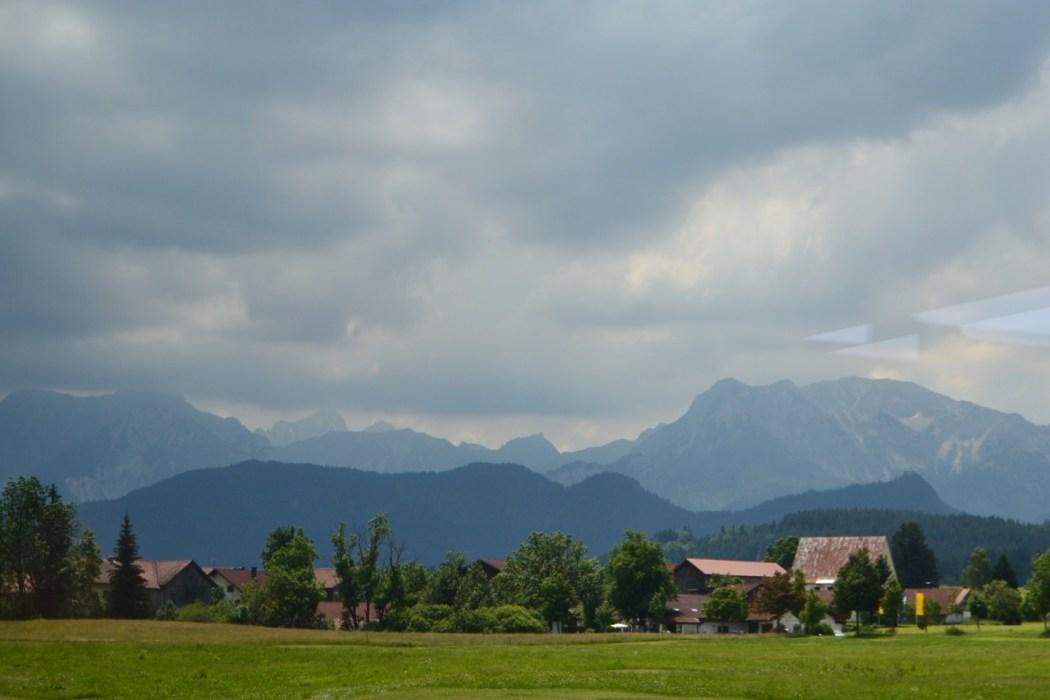 Bavaria mountainscapes on train journey.
