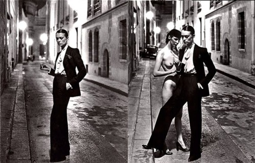 Helmut Newton yves Saint Laurent rue Abriot 1975, Paris