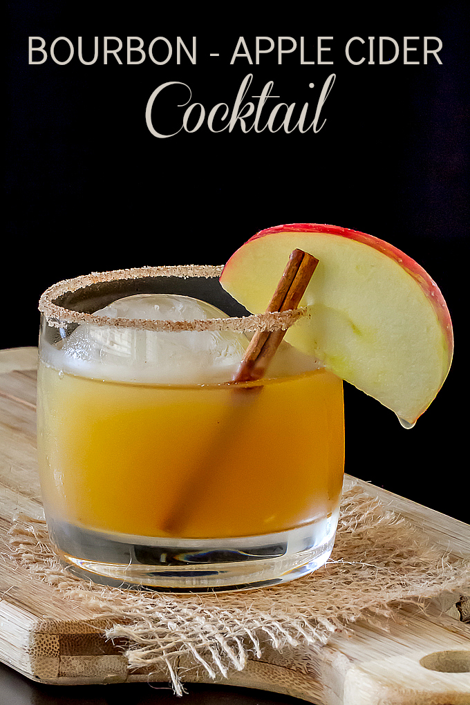 Bourbon Apple Cider Cocktail with Ginger Cinnamon Sugar Rimmer
