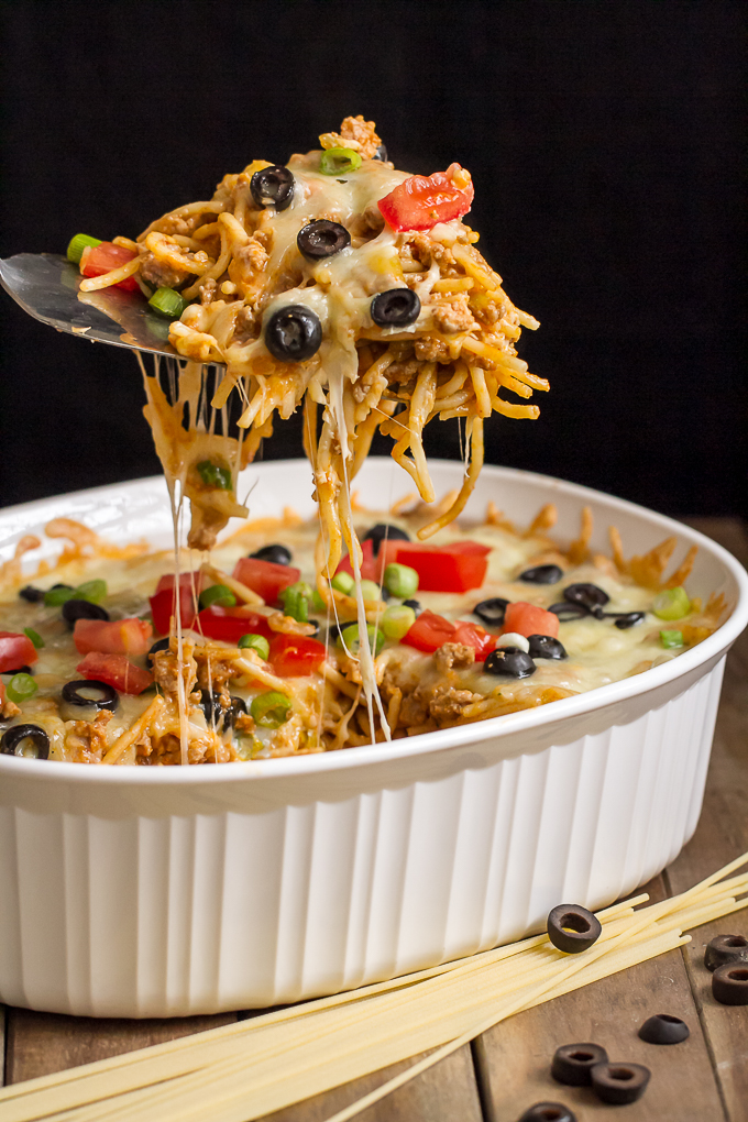 ... Baked in a casserole dish like this Mexican Spaghetti Bake is sure to
