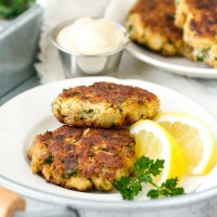 Crab cakes with mustard dipping sauce. Low carb and gluten free!