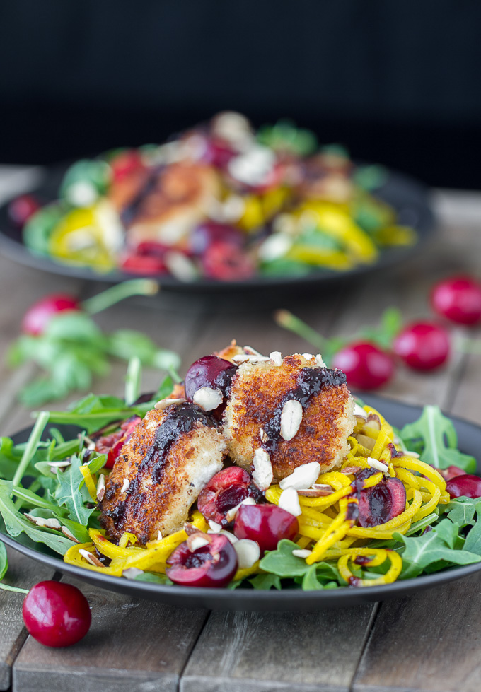 Arugula Salad with Panko Crusted Goat Cheese, Sprialized Beets and ...
