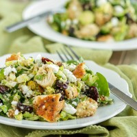 Quinoa Cherry Chicken Salad with Brussels Sprouts, Spinach, Pistachios and Goat Cheese