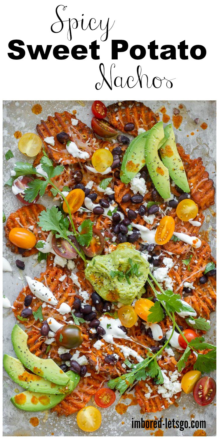 Spicy Sweet Potato Nachos make a great Game Day treat. Add your favorite nacho toppings but don't forget the guacamole!
