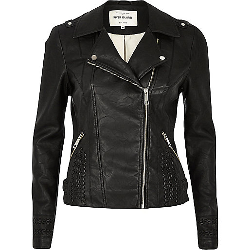 River Island - Black leather-look whipstitch biker jacket 60
