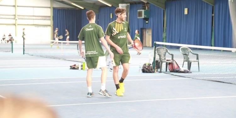 Men's Doubles in action.