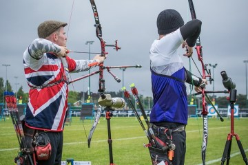 Archery GB's Patrick Huston competes at the European Archery Championship qualifying rounds (Credit Dutchtarget)
