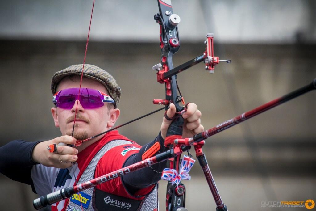 atrick Huston shoots at the European Archery Championship finals.