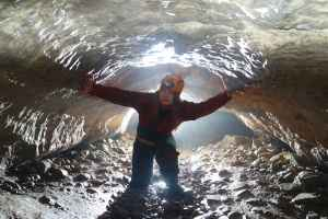 A UoN caver exploring the UK's wild cave systems