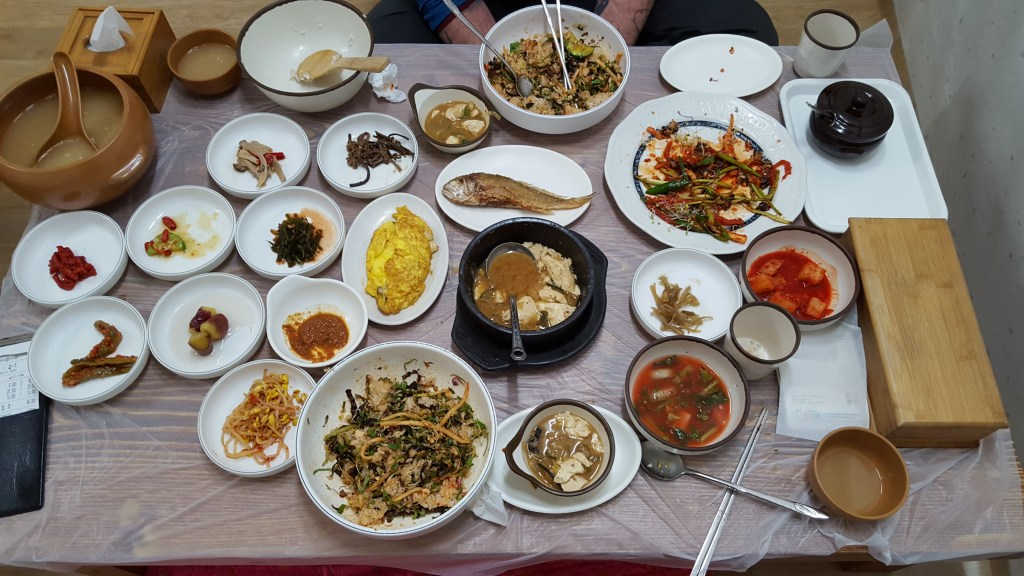 The heavenly spread of food at our dinner in Gyeongju, South Korea.