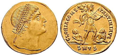 Solidus_multiple-Constantine-thessalonica_RIC_vII_163v