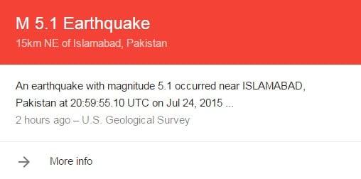earthquake jolts Islamabad