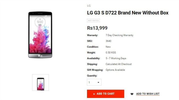 LG G3 S D722 Brand New Without Box - Google Chrome