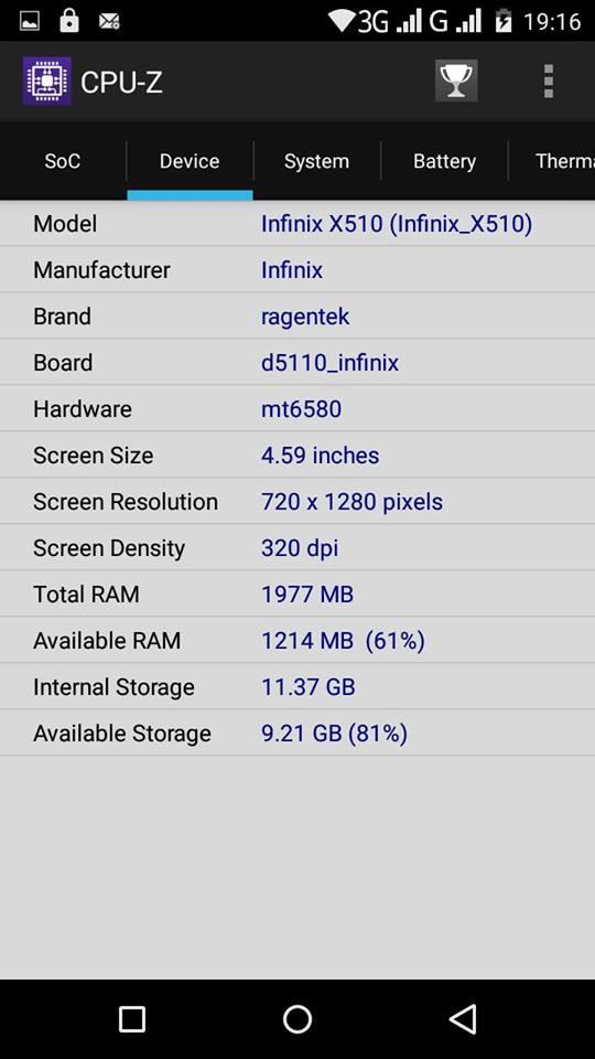 Infinix Hot 2 CPU Z