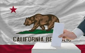 ca flag and ballot box