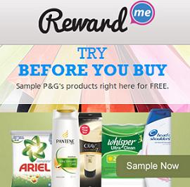 Reward Me Free Samples of Products P&G Free Samples
