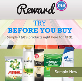 Reward Me Free Samples of Products by P&G Free Samples