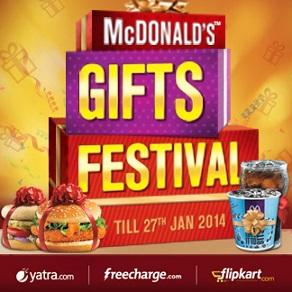 McDonalds Gifts Festival | Flipkart Voucher, FreeCharge, Yatra Coupon