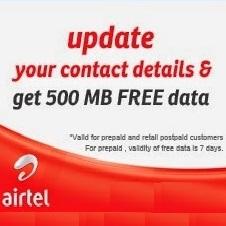 Airtel Free Internet 500 MB 3G Data Postpaid, Prepaid Users