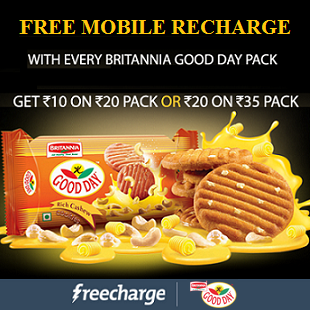 Britannia Good Day Free Recharge Rs 10 or Rs 20 Offer FreeCharge.in