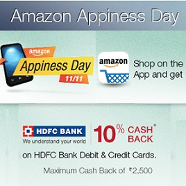 Amazon Cash Back on HDFC Bank Cards