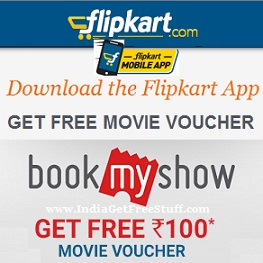 Flipkart BookMyShow Offer Get Free Movie Voucher Coupon Code worth Rs.100