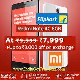 Xiaomi Redmi Note 4G at Rs.7999 on Flipkart Get upto Rs.3000 Off on Exchange